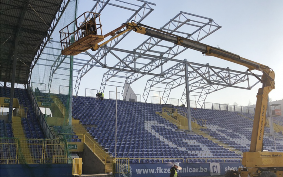 Covering the east stand of Grbavica Stadium